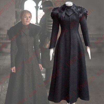 Game of Thrones 7 Halloween Cosplay Costume Cersei Lannister Women Dress+cape (Cersei Lannister Halloween Costumes)