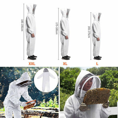 Ventilated Full Body Anti-bee Suit Veil Hood Coat Beekeeping Tool White Size Xl