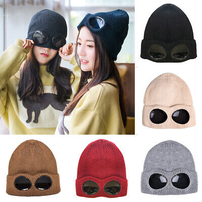 Hat With Goggles (Unisex Thickened Winter Knitted Cap With Goggles Beanie Leisure Thermal Warm)
