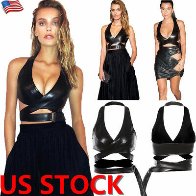 Leather Tank Bra - US Women PU Leather Crop Top Bralette Bustier Bra Sleeveless Tank Tops Clubwear