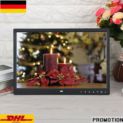 Ganz Neu 15 Zoll Digitaler Bilderrahmen TFT LED Wecker Movie Player Schwarz DE