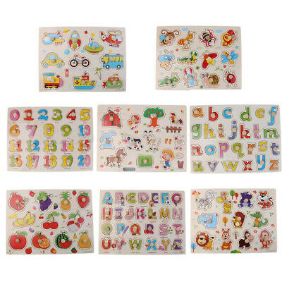 Peg Puzzles Toys - Alphabet  Numbers Wooden Peg Puzzles Baby Toddler Preschool Educational Toy Soft