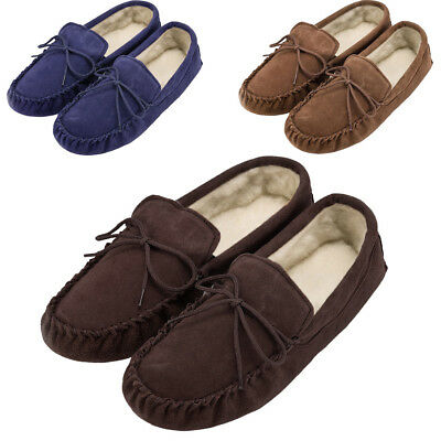 Sheepskin Moccasin Slippers Ladies Mens Real Suede Wool Lining Soft Sole