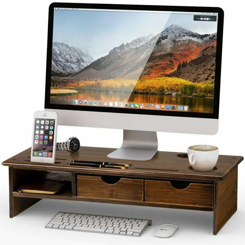 Laptop Desktop Monitor Riser TV Stand Desk Organizer For Com