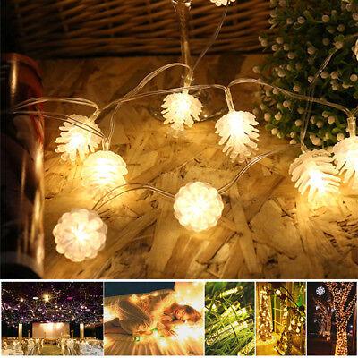 LED Pomme Pin Etanche Guirlande Lumineuse Décor Noël Fête Lampe Exterieur Jardin