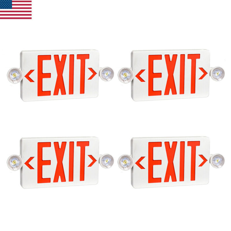 4PCS UL-Listed Emergency Light-Red LED Exit Sign - Dual Lamp ABS Fire Resistance