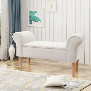 CHENILLE FABRIC WINDOW SEAT BENCH FOOTSTOOL BED END SOFA CHAIR LOUNGE BEDROOM UK