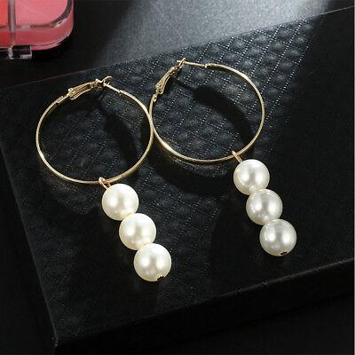 Fashion Sweet Women Circle Faux Pearl Hoop Dangle Drop Earrings Jewelry New
