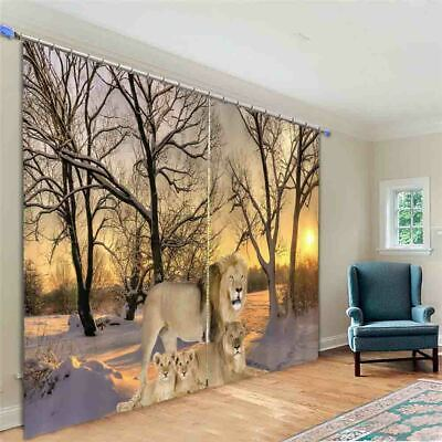 Lions Family Forest 3D Curtain Blockout Photo Printing Curtains Drape (Lions Drapes)