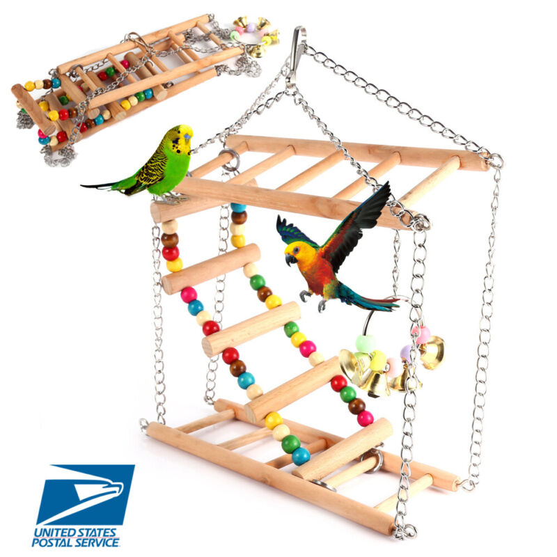 Bird Cage Swing Hammock Hanging Toy Pet Supplies Accessories Parrot Parakeets