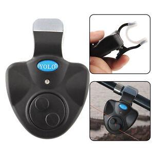 Electronic LED Light Bite Sound Alarm Bell Clip On Fishing Rod Alert W/ Battery