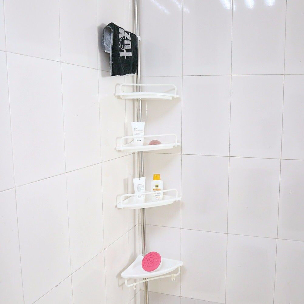New 4 Tier Telescopic Adjustable Corner Bathroom Shelf Organiser ...