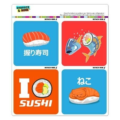 Sushi Lovers (Sushi Lovers with Tuna Nigiri and Cat Fridge Locker Car Vinyl Magnet Set )