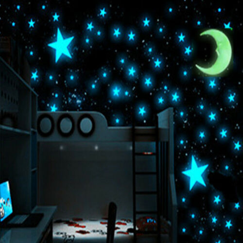 Home Decoration - 40/70/100PCS 3D Stars Glow In Dark Luminous Fluorescent Wall Sticker Home Decor