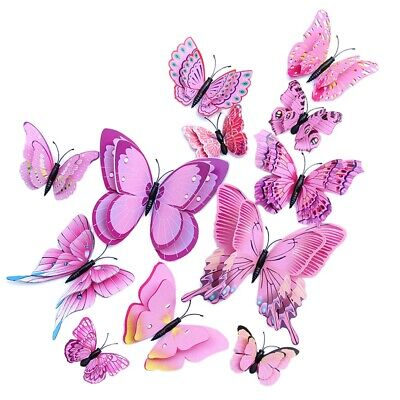 12PCs 3D Pink Vivid Butterfly Wall Decoration Kid's Room Decor Stickers for Girl (Pink Butterfly Wall)