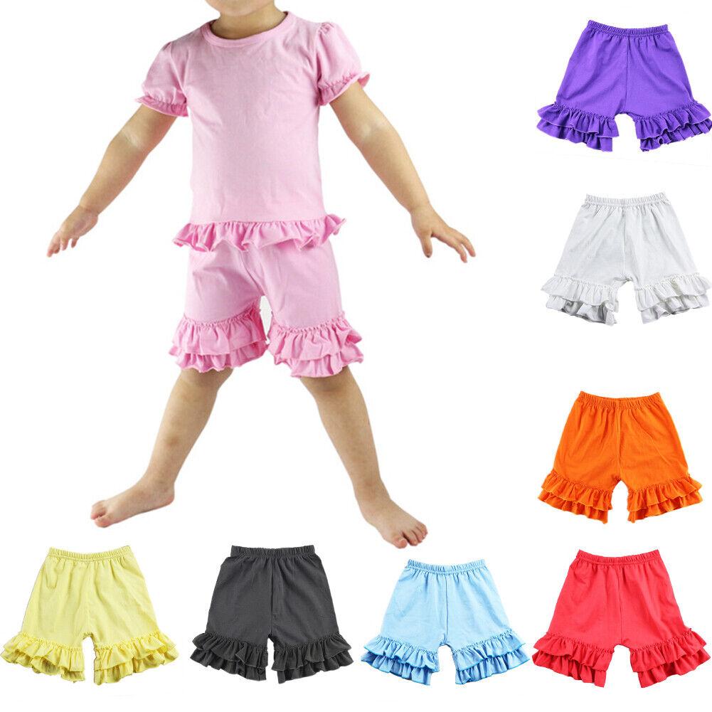 Ruffled Kids Girls Summer Boutique Shorties Icing Ruffles Pants Bottoms Shorts