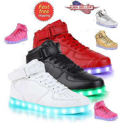 SAGUARO Unisex LED Light High Top Shoes Lace Up Luminous Casual - Led Shoe Lights