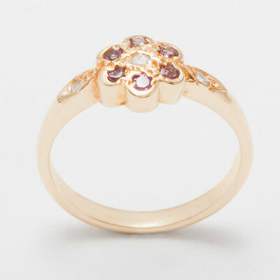 Pink Tourmaline Daisy - Solid 14k Rose Gold CZ & Pink Tourmaline Womens Daisy Ring - Sizes 4 to 12