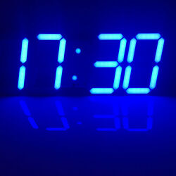 Large 3D Modern Digital LED Wall Clock 24/12 Hour Display Timer Alarm Home Decar