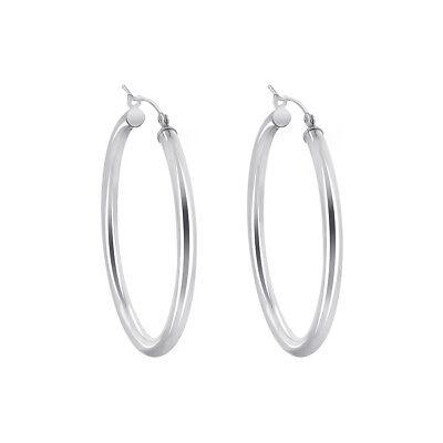 Sterling Silver 2.5mm wide Hoop Earrings (40mm Diameter)