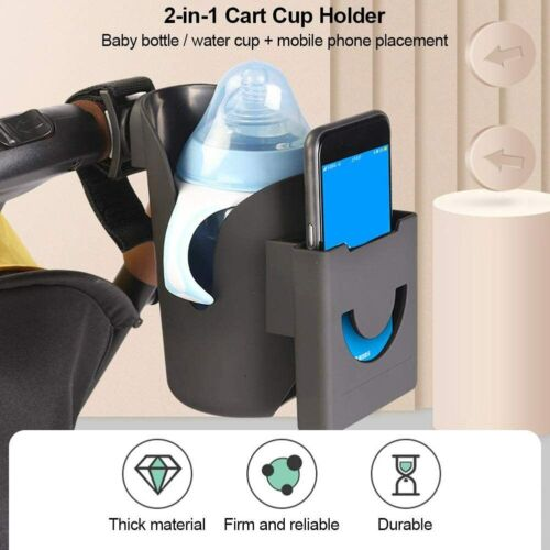 2-in-1 Universal Baby Stroller Cup Holder Mobile Phone Holder Bicycle Wheelchair