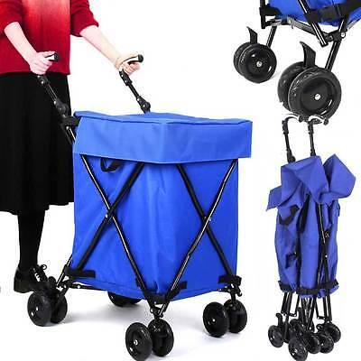 Light Weight Foldable Shopping Trolley Basket on Wheels &Luggage Travel Bag Blue