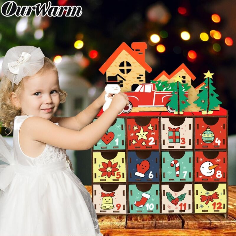DIY Christmas Countdown Advent Calendar Wooden Gift Storage Box with 24 Drawers