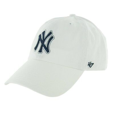 New York Yankees 47 Brand White Clean Up Adjustable Field Cotton Hat Cap MLB - 47 Brand Blank Hats