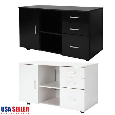 3 Drawers + 1 Door Storage + 2 Tier Shelf Mobile File Cabinet For Office/Home US