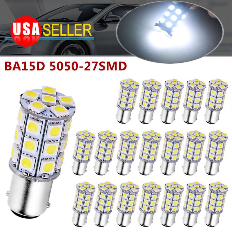 20PCS Xenon White BA15D 5050 27SMD For Boat Marine RV Car LED Light Bulb 1157
