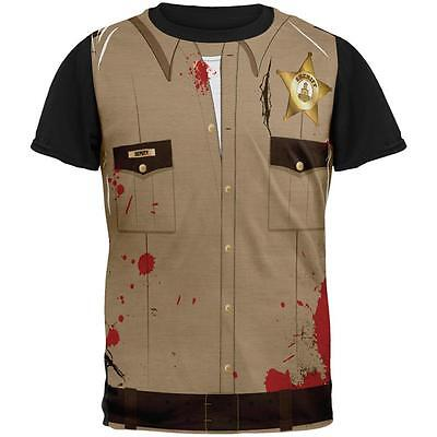 Halloween Zombie Grime Sheriff Walker All Over Mens Black Back T Shirt