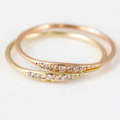 Womens Exquisite Small 14K Gold Filled Tiny Baguette Diamond Ring Size 6-10