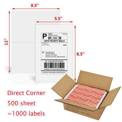 1000 Self-adhesive Half Sheet Shipping Labels 8.5x5.5 Direct Corner For Ups Usps