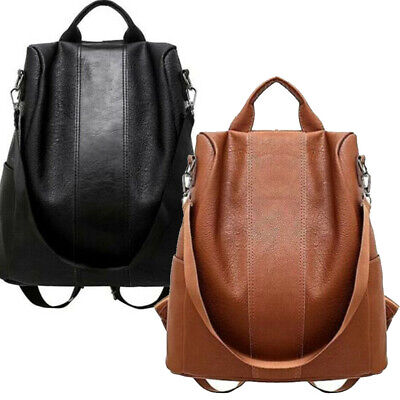 USA Women's Leather Backpack Anti-Theft Rucksack School Shoulder Bag Black/Brown