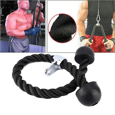 Hot Gym Bodybuilding Cable Tricep Rope Push Pull Down Lat Cord Handle Attachment