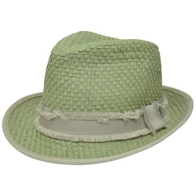 Peter Grimm Woven Straw Depp Fedora Stetson Trilby Small Medium Diamond Top Hat Woven Top Hat