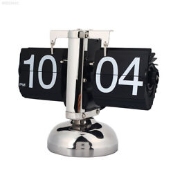 4759 Retro Scale Digit Number Auto Flip Single Stand Metal Desk Table Clock Vint