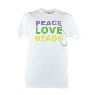 Peace Love Beads Men Adult Mardi Gras Happy Child Life Month White T-Shirt](Kids Mardi Gras Shirts)
