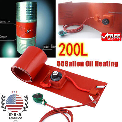 55gallon200l 1000w Silicon Band Drum Heater Oil Biodiesel Metal Barrel Us-stock