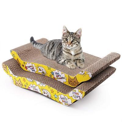Cat Scratching Cardboard Post Scratcher w/ Catnip Pad Lounge Sofa Bed Pack of 2 (Pad Bed Pack)