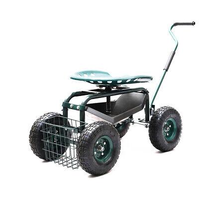 Heavy Duty Garden Work Seat Trolley Rolling Cart 4 Wheel Barrow Wagon And Basket