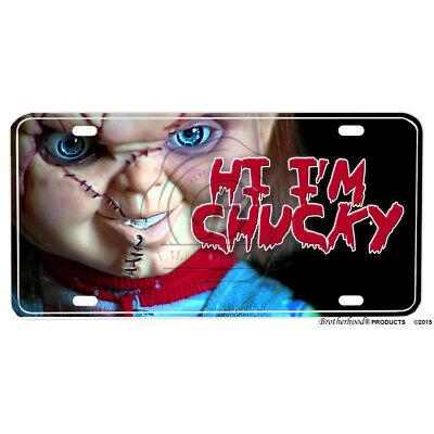 Chucky Horror Movie Hi I'm Chucky Printed Flat Aluminum License Plate
