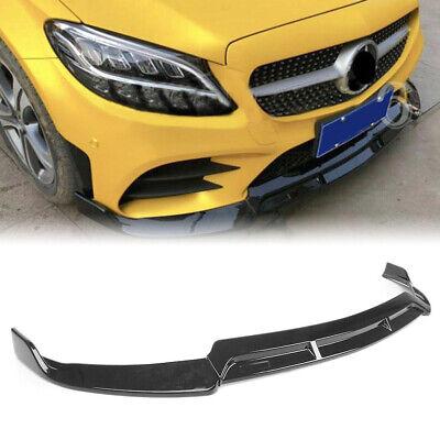 For 19+ Mercedes-Benz W205 C-Class C300 Sport Front Bumper Lip Gloss Black Spoil