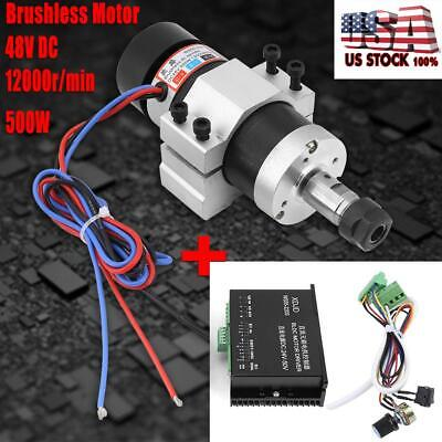 Er16 Air Cooling Brushless Spindle Motor 500w High Speed Dc 48v Driver Clamp
