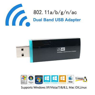 USB  AC600 Wireless Wifi Network Adapter 5Ghz 433Mbps Dual Band 802.11ac/a/b/g/n