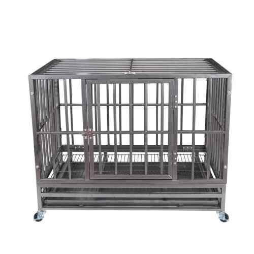"""37"""" Gray Heavy Duty Dog Cage Strong Metal Crate Kennel Playpen w/ Wheels&Tray"""