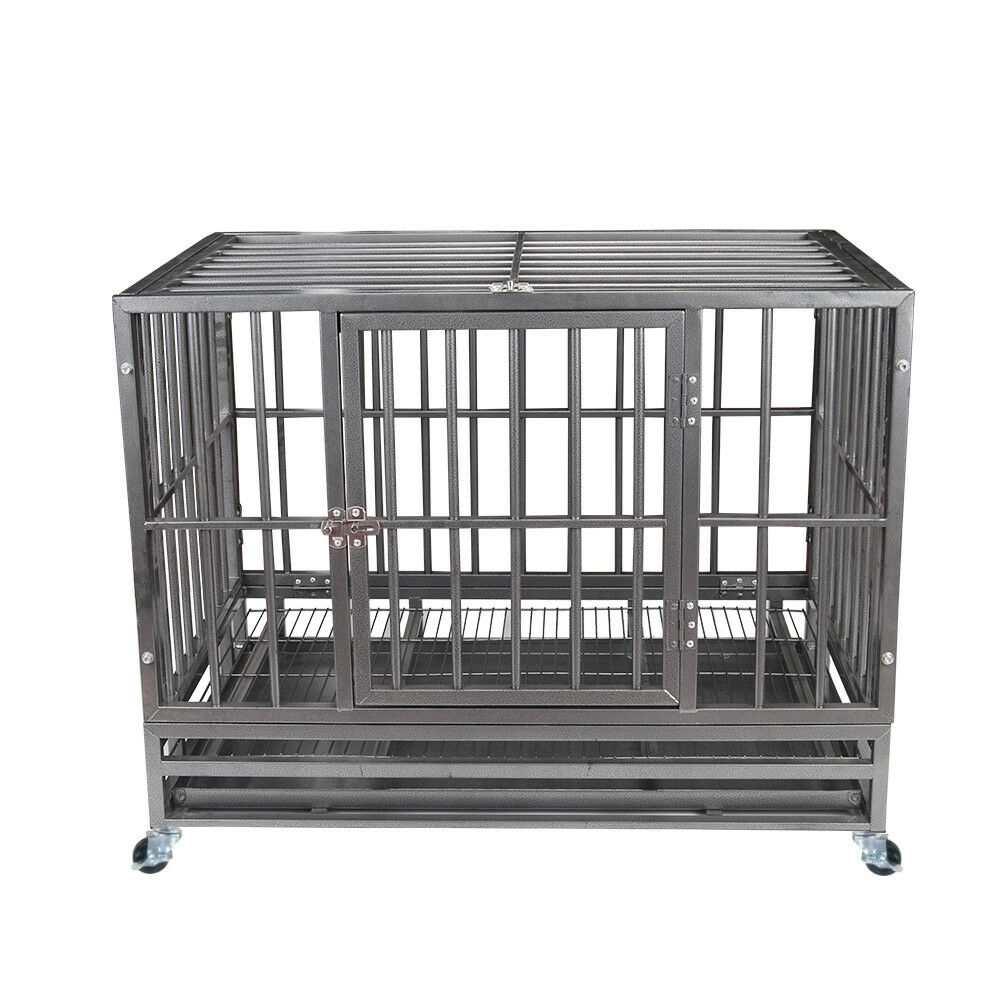 37 gray heavy duty dog cage strong