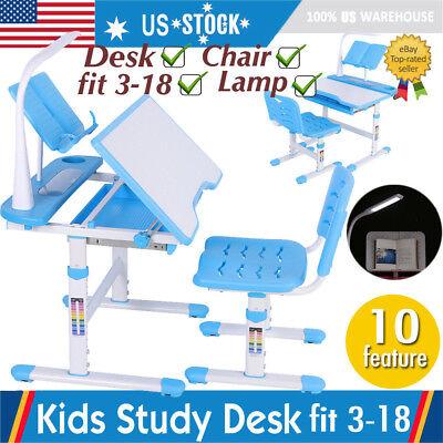 Blue Adjustable Children's Study Desk Chair Set Child Kids Table with LED (Blue Adjustable Desk Lamp)