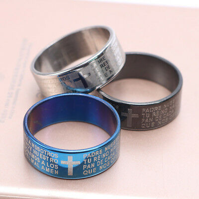 1pc Religious Titanium Stainless Steel Cross Scripture Womens Mens Rings Jewelry