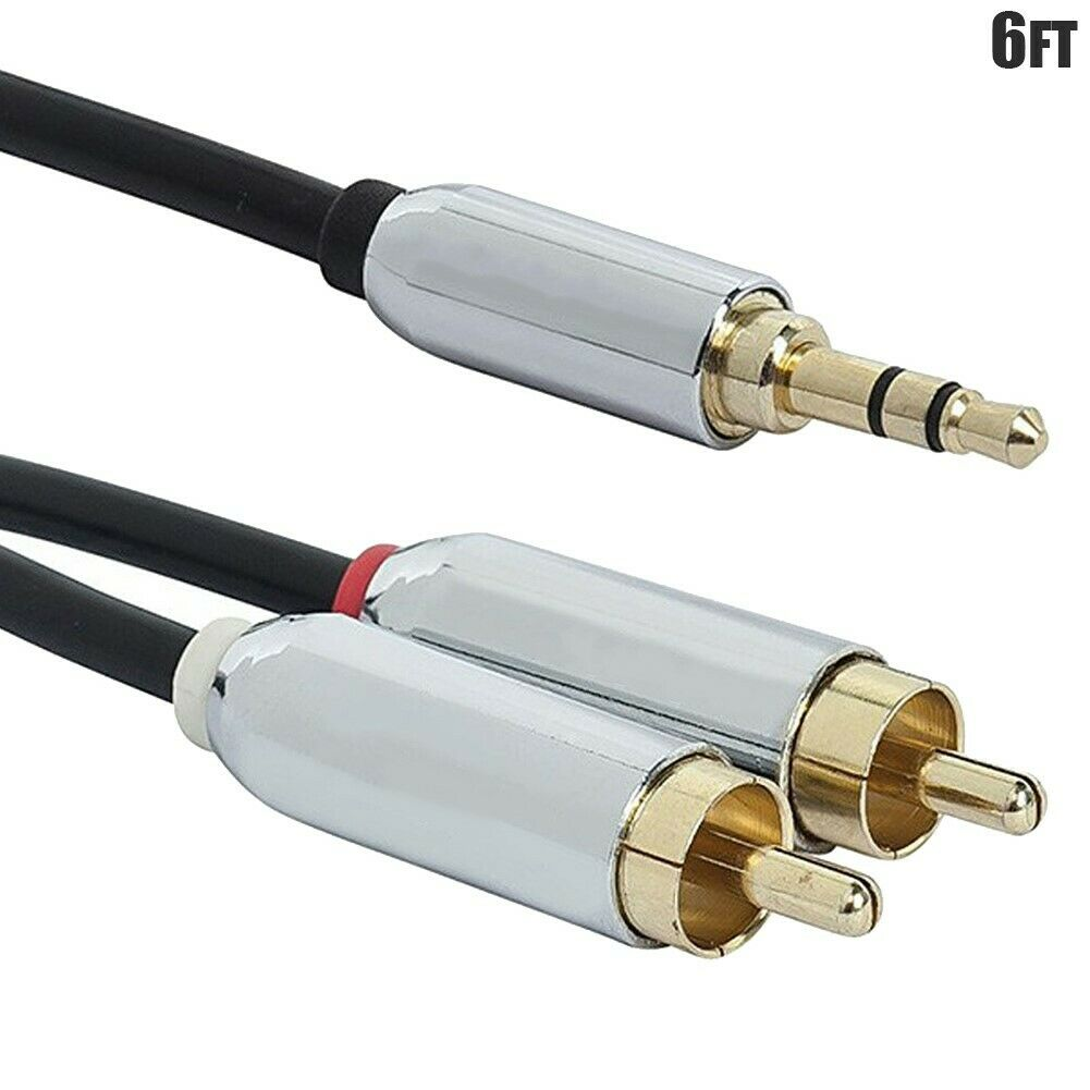 6ft 3.5mm Male to 2 RCA Male Stereo Audio Cable 6 ft Phono Aux Cord Y Splitter